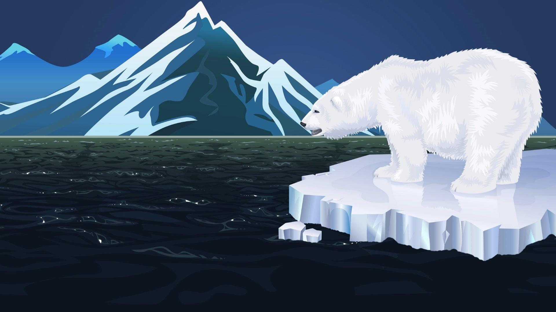 Minimalist polar bear wallpaper