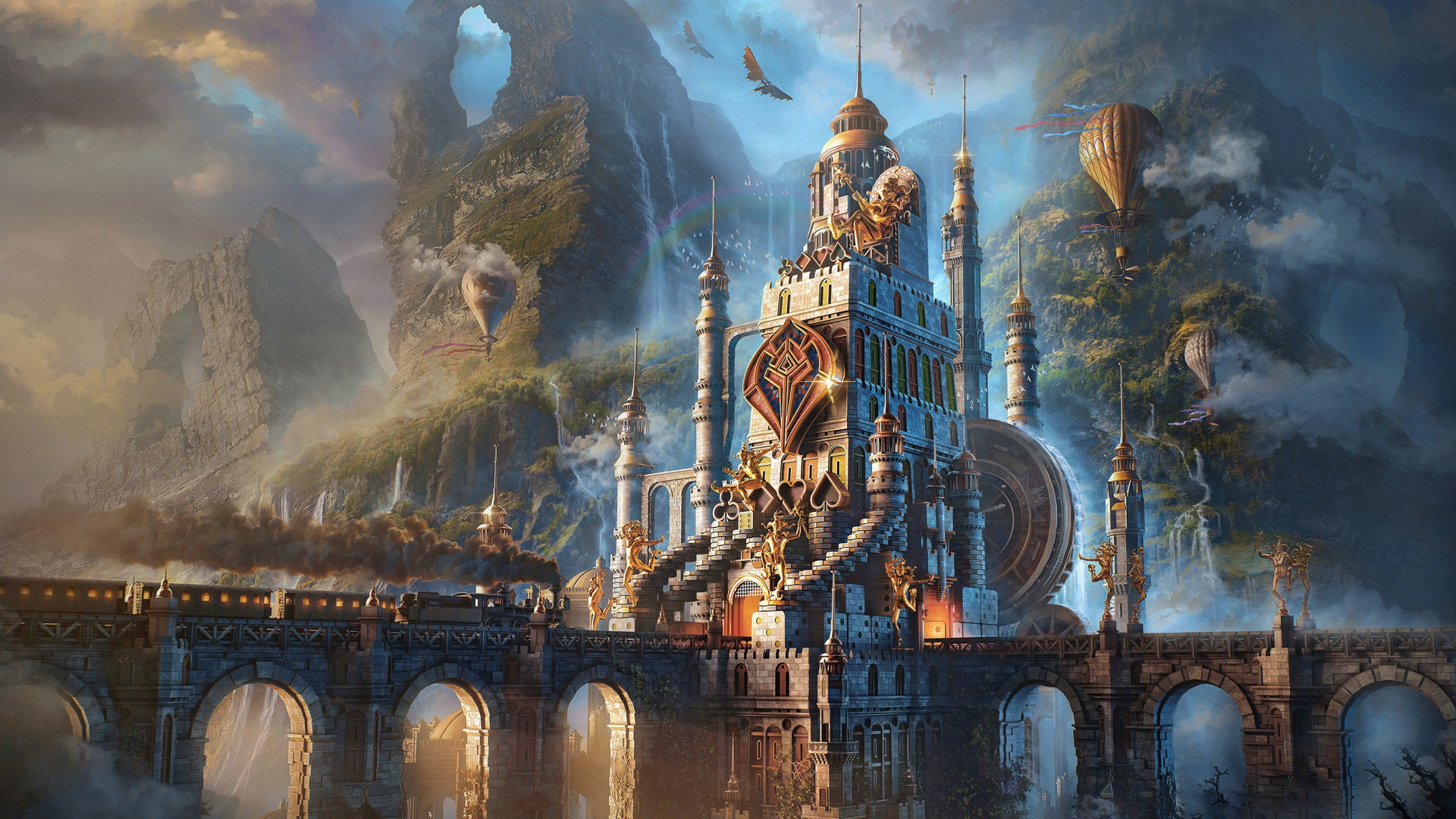 Fantasy Castle with hot air balloons wallpaper