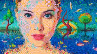 Abstract collage woman face mosaic art wallpaper
