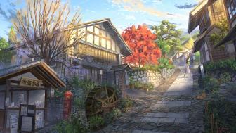 Anime village wallpaper