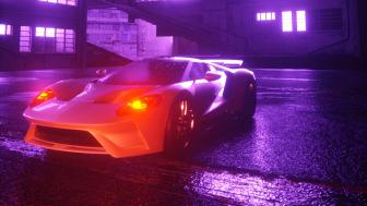 Vaporwave Lamborghini Car wallpaper