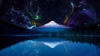 Fantasy night landscape with Mount Hood. wallpaper
