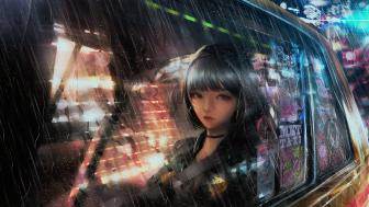 Anime girl in a taxi on a rainy night wallpaper