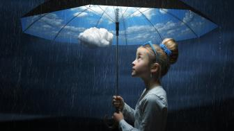 Little girl with umbrella Surrealist Art wallpaper