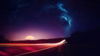 Light trails on the road photo manipulation wallpaper