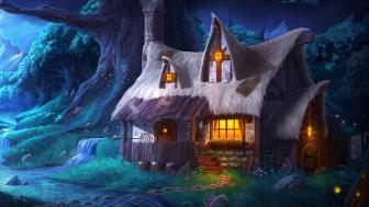 Fantasy tree house wallpaper
