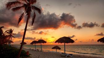 Tropical beach at sunset wallpaper