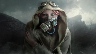 Girl in gas mask wallpaper