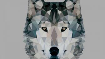 Low-poly wolf wallpaper