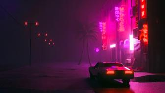 Synthwave Night lights wallpaper