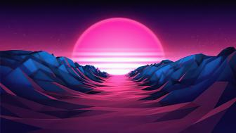 Retrowave pink sun wallpaper