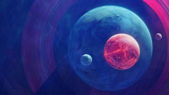 Planets with moons digital art wallpaper