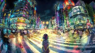 Shibuya Tokyo crosswalk anime art wallpaper