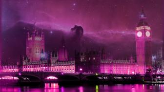 Westminster purple fantasy wallpaper