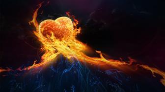 Flaming heart wallpaper
