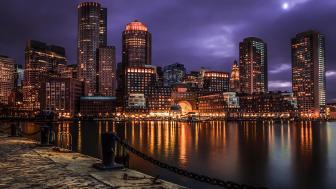 Cloudy Boston night wallpaper