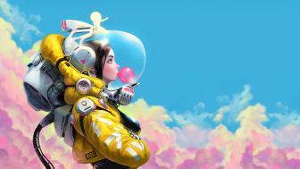 Bubble Gum Space Girl  wallpaper