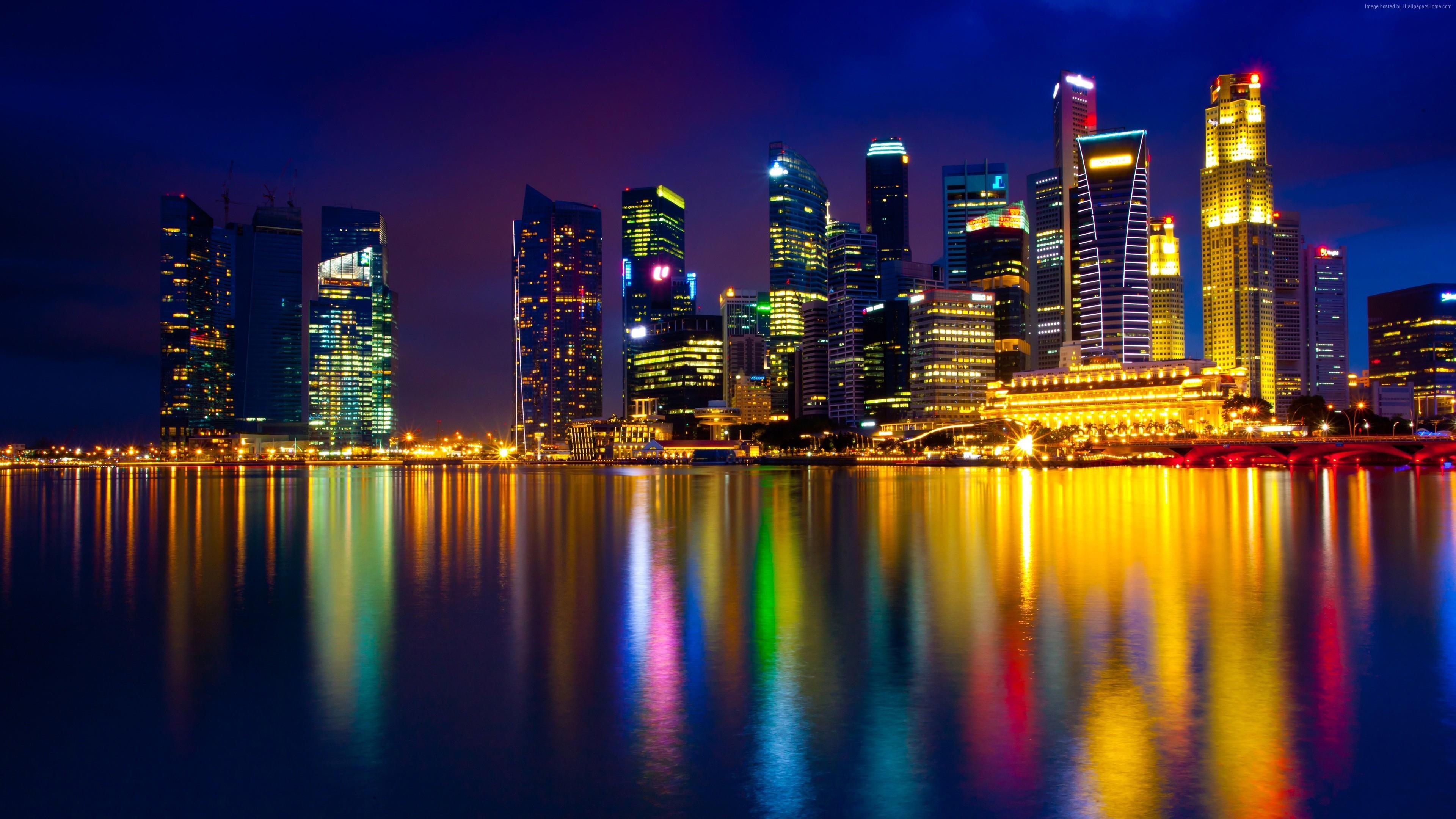 Marina Bay at night (Singapore) wallpaper