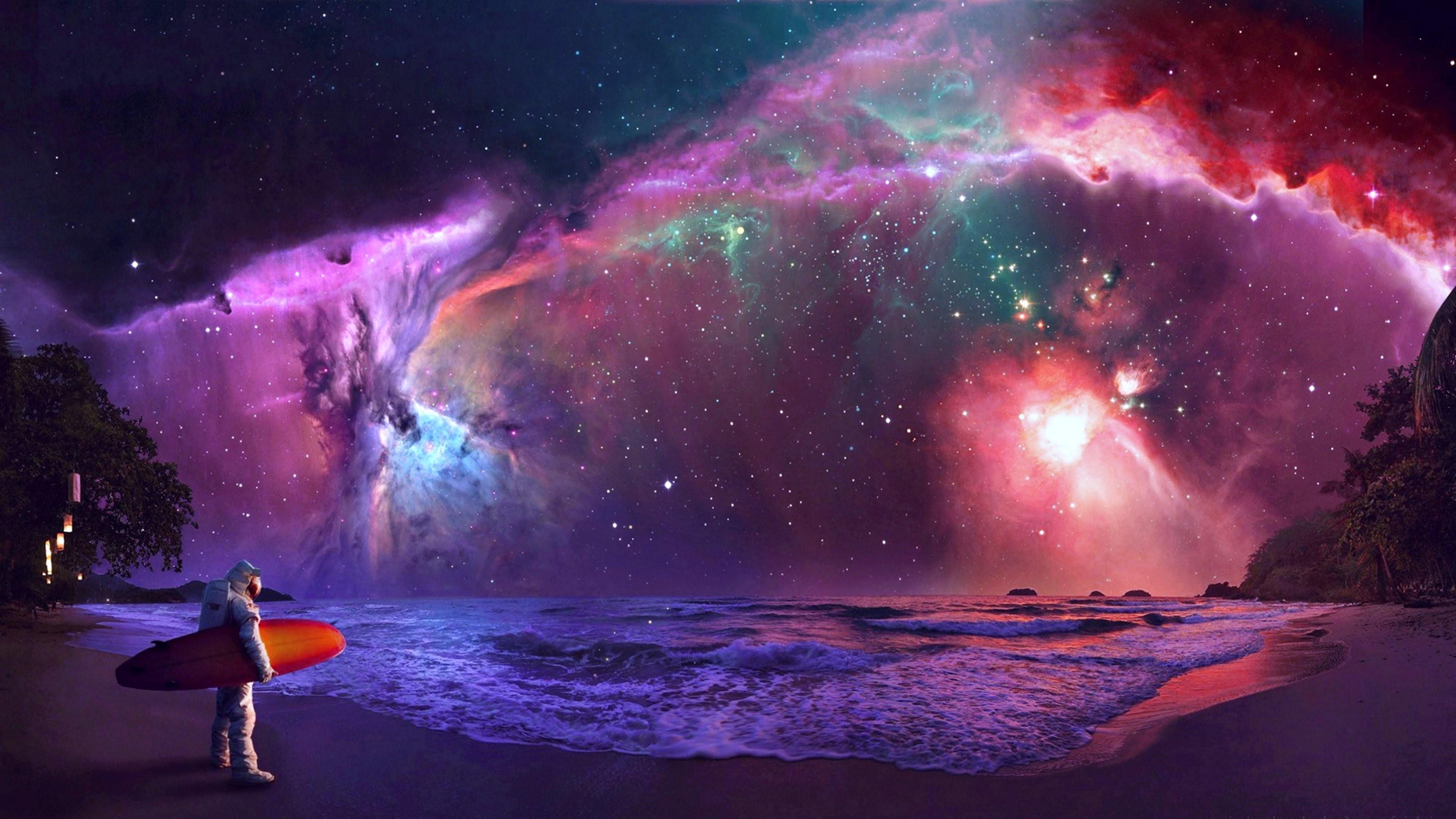 Surfing astronaut - Fantasy art wallpaper
