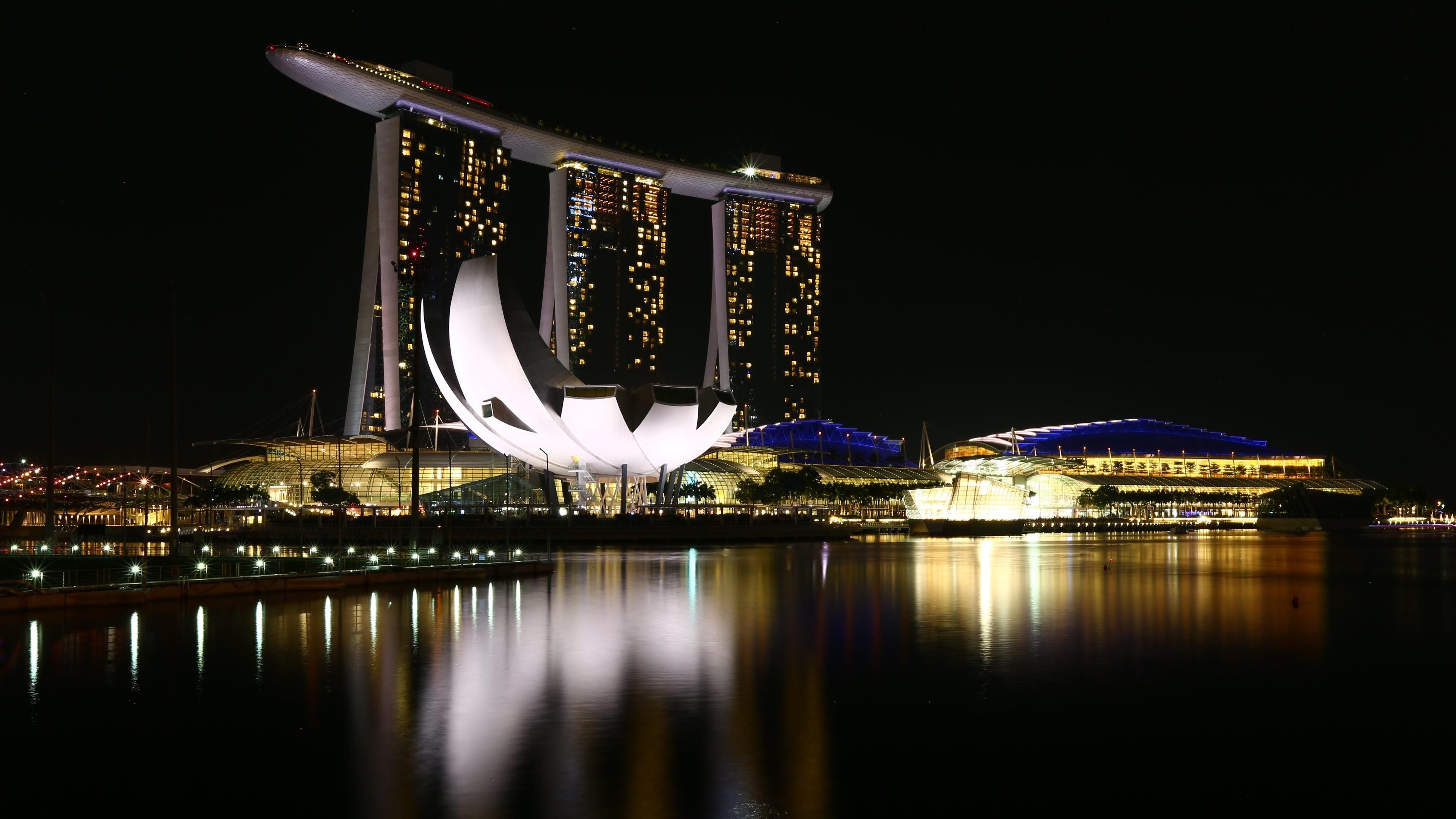 Marina Bay at night, Singapore wallpaper