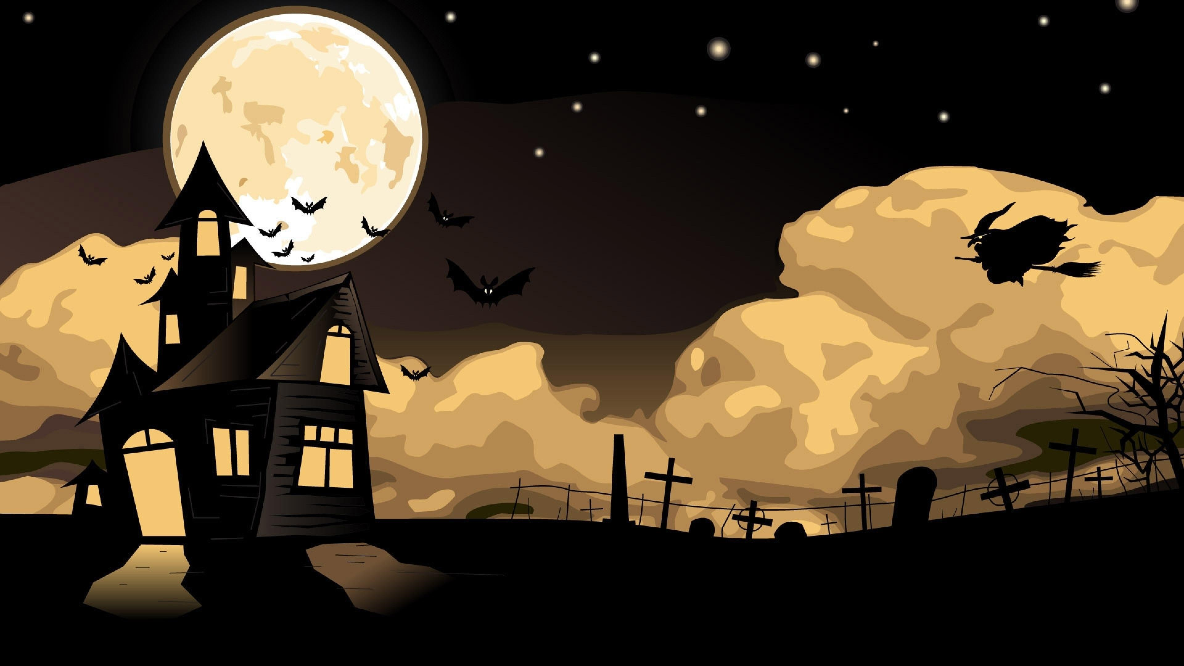Flying witch and bats - Halloween illustration wallpaper