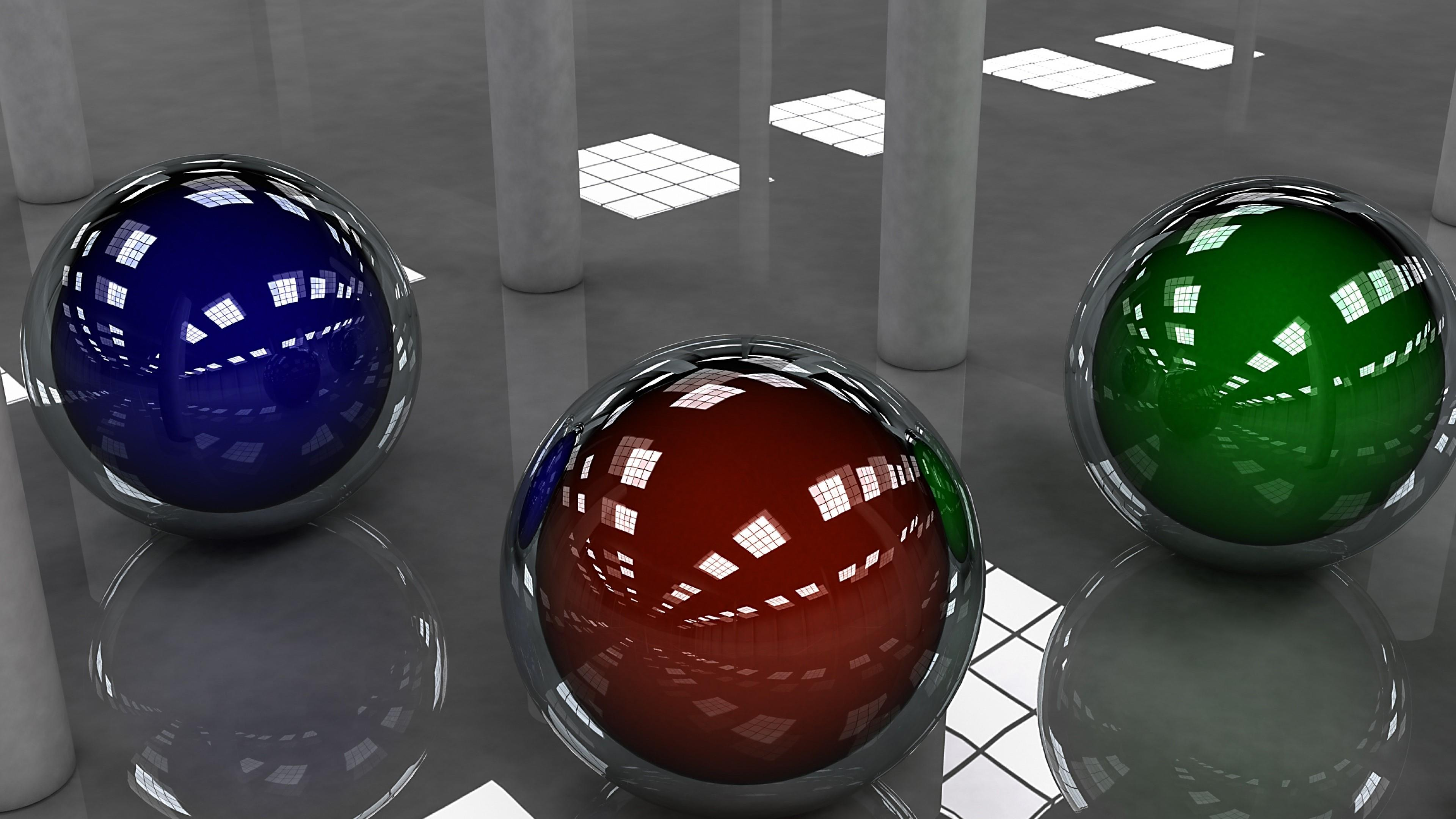 3D spheres in helmet - Digital art wallpaper