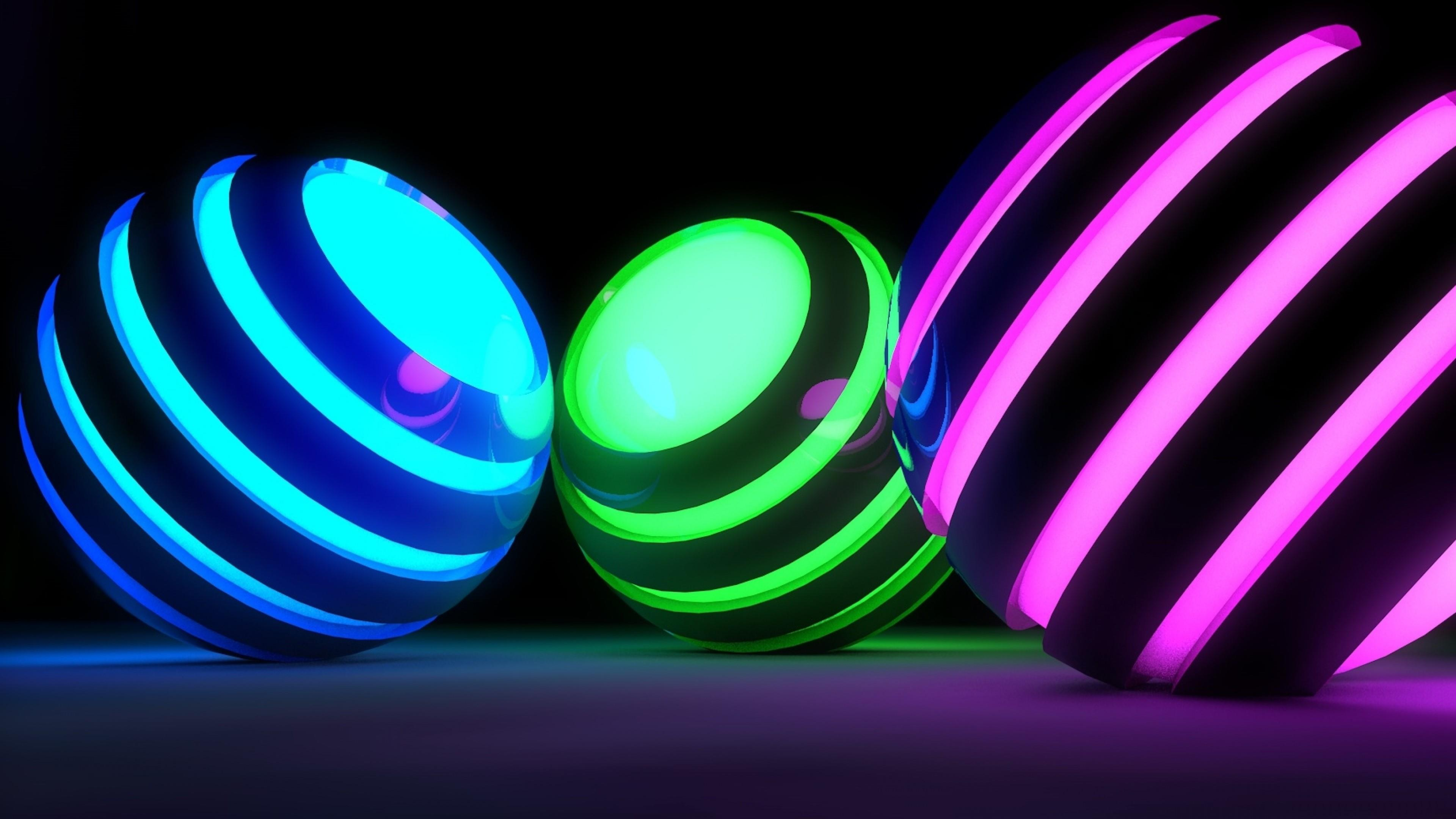 3D illuminating spheres wallpaper