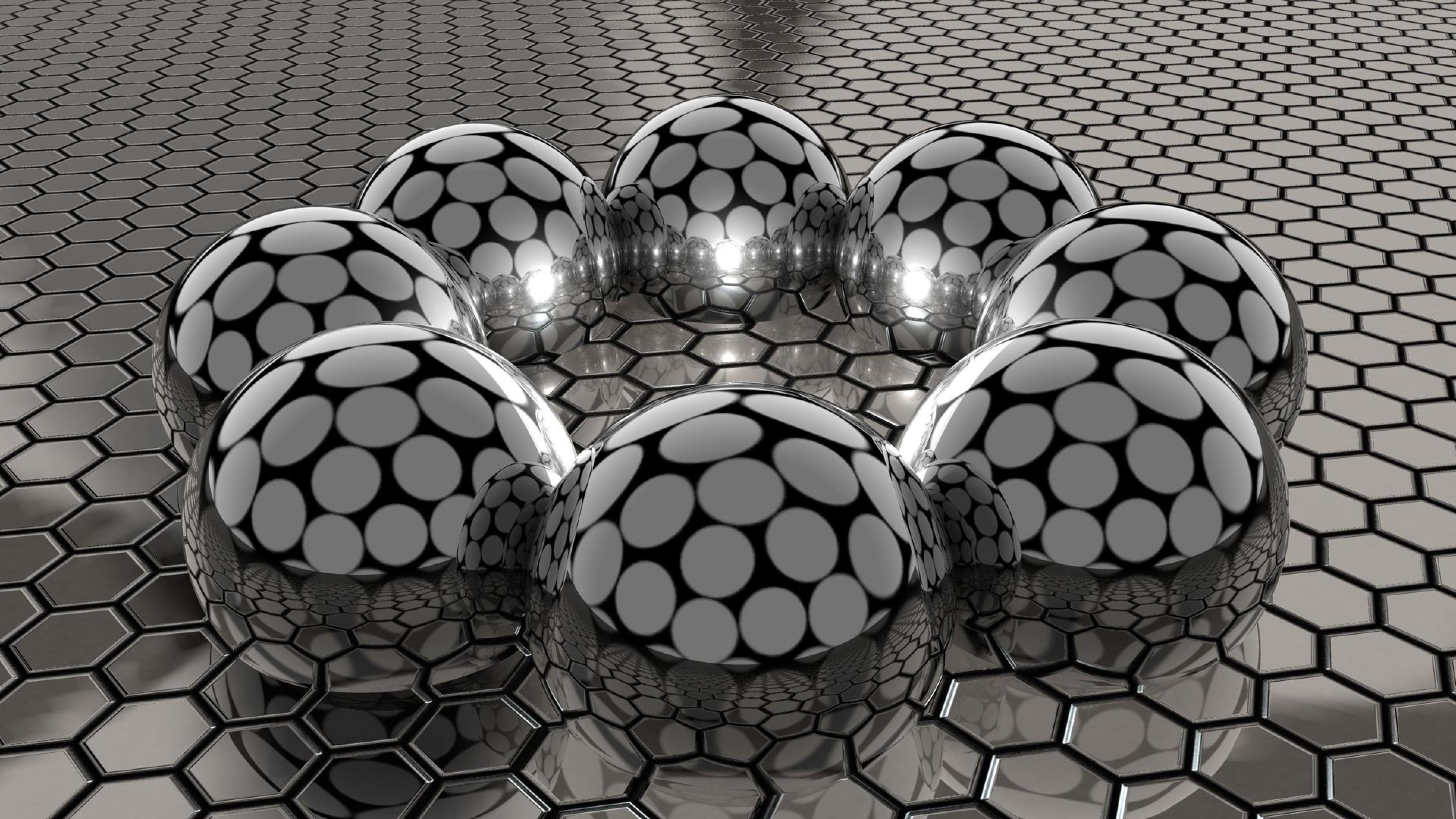 3D metal balls wallpaper