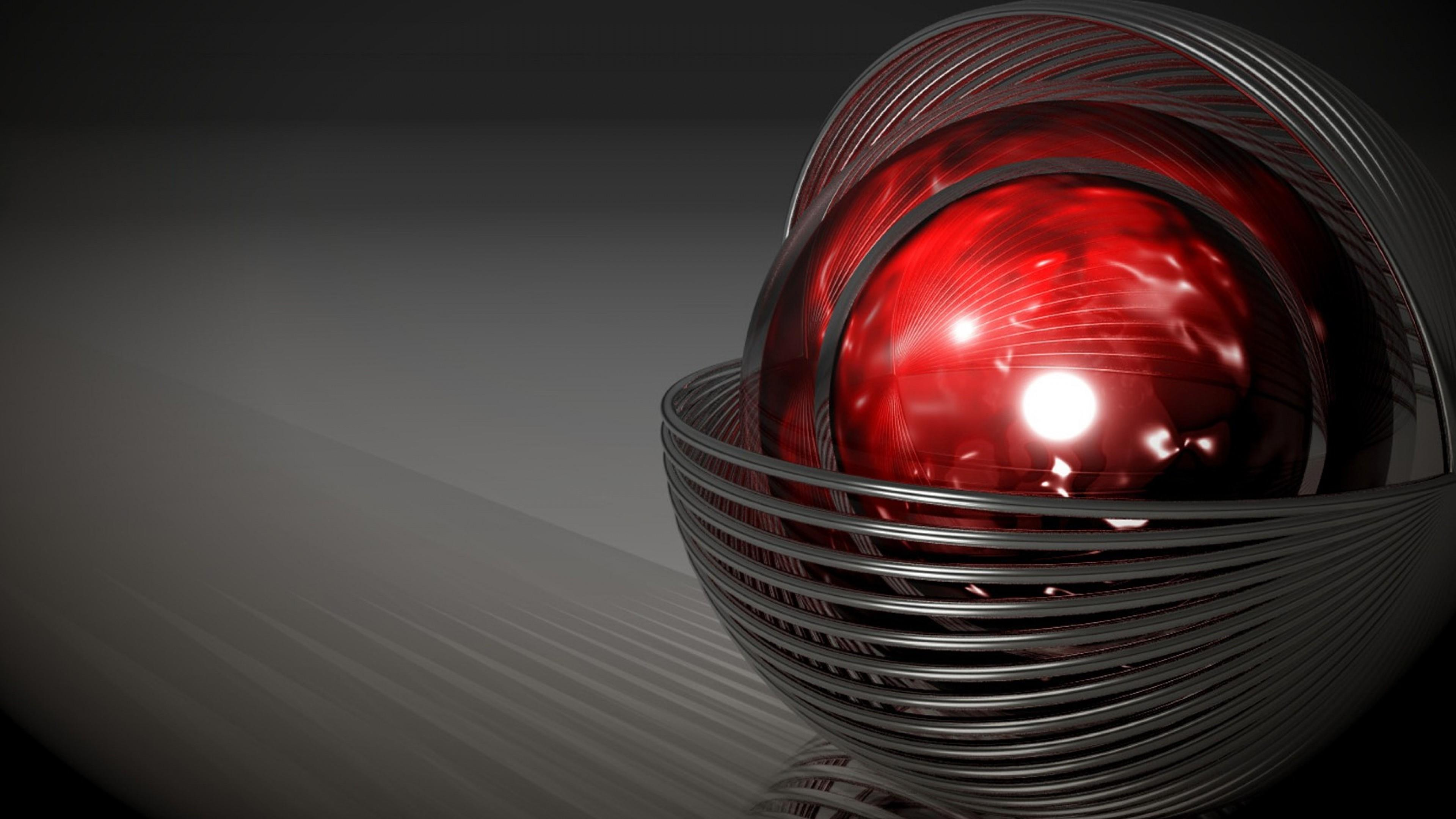 3D red sphere computer graphics wallpaper
