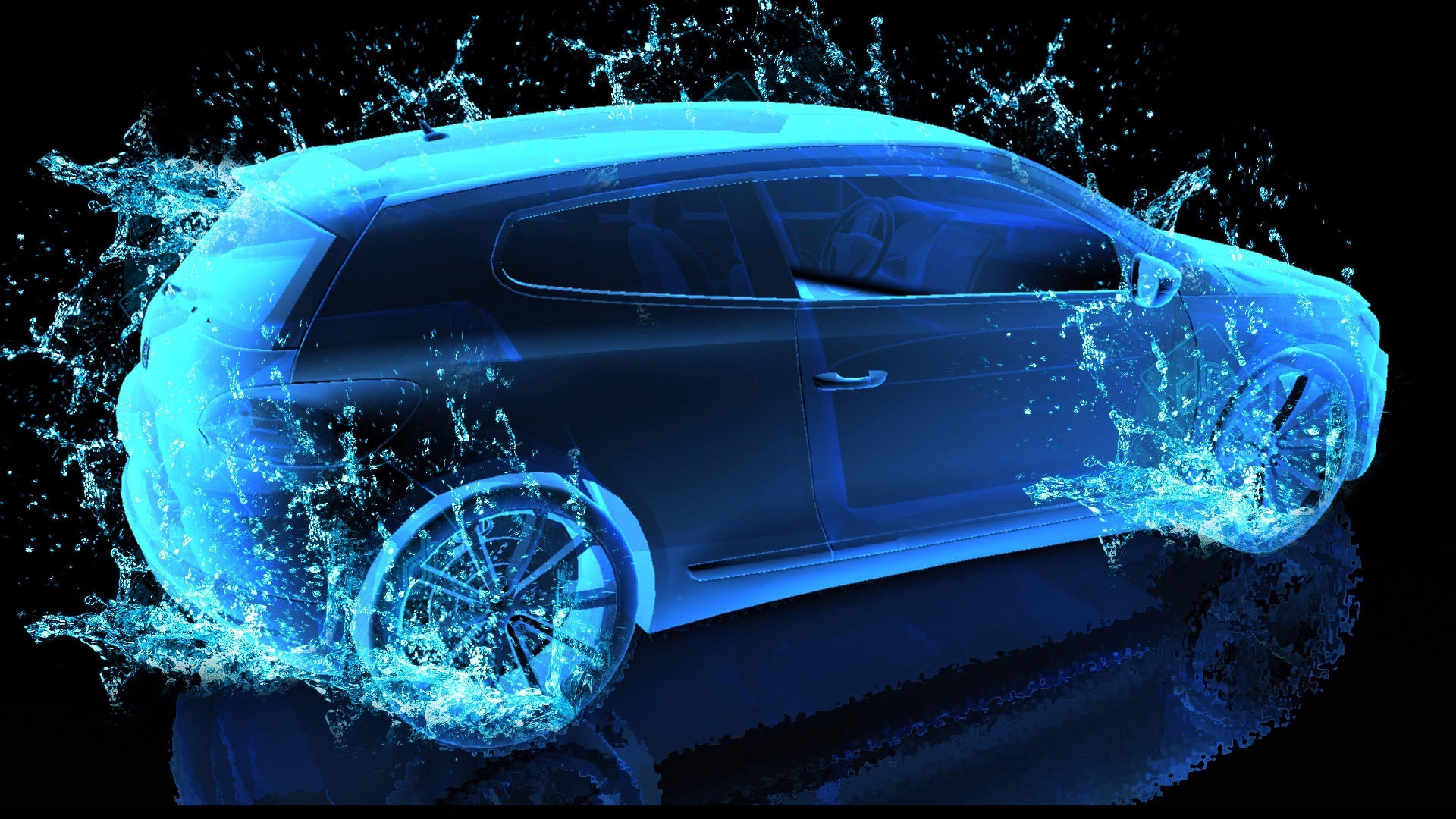 Blue neon light car - Digital art wallpaper