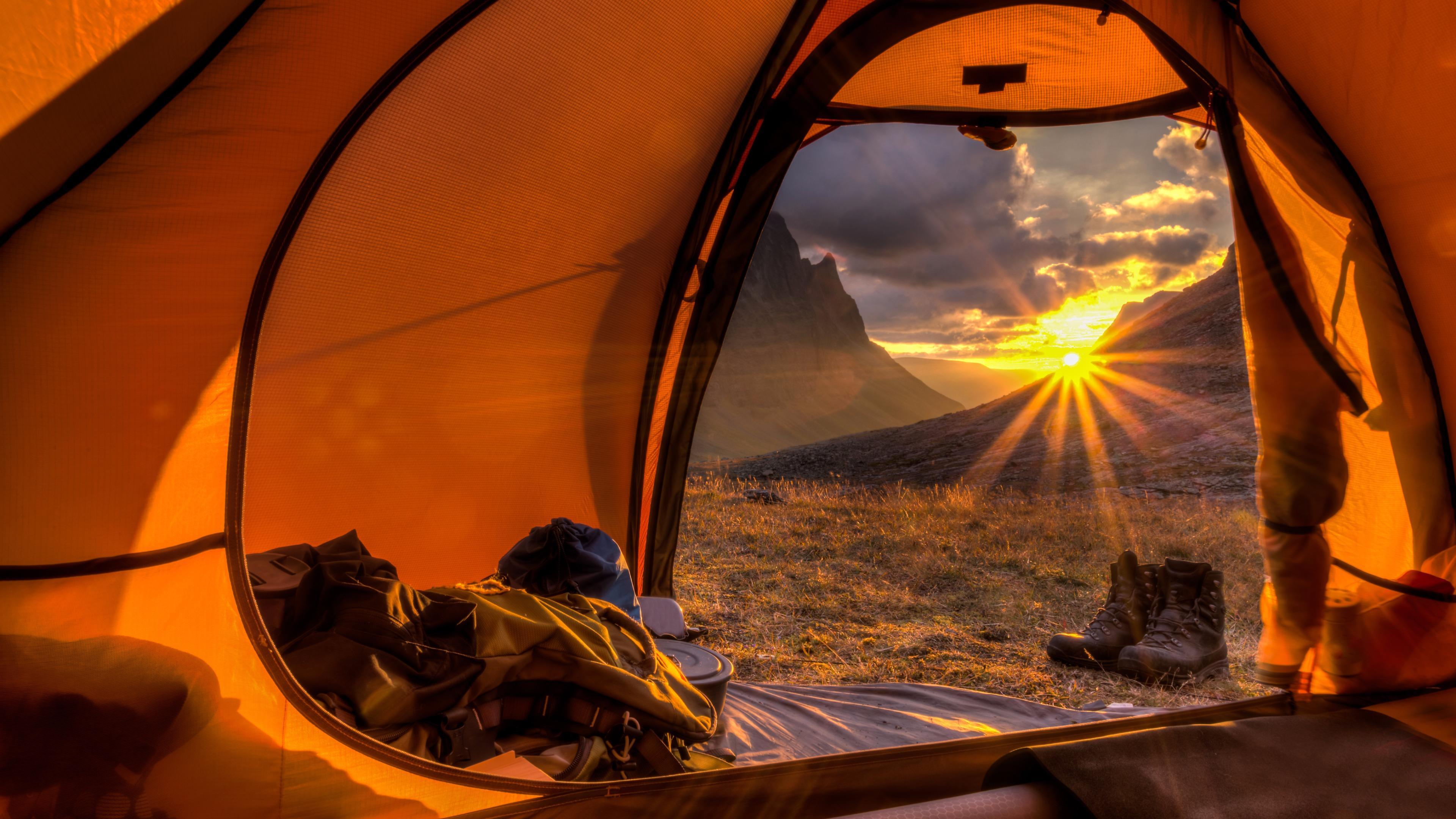 Tent sunlight wallpaper