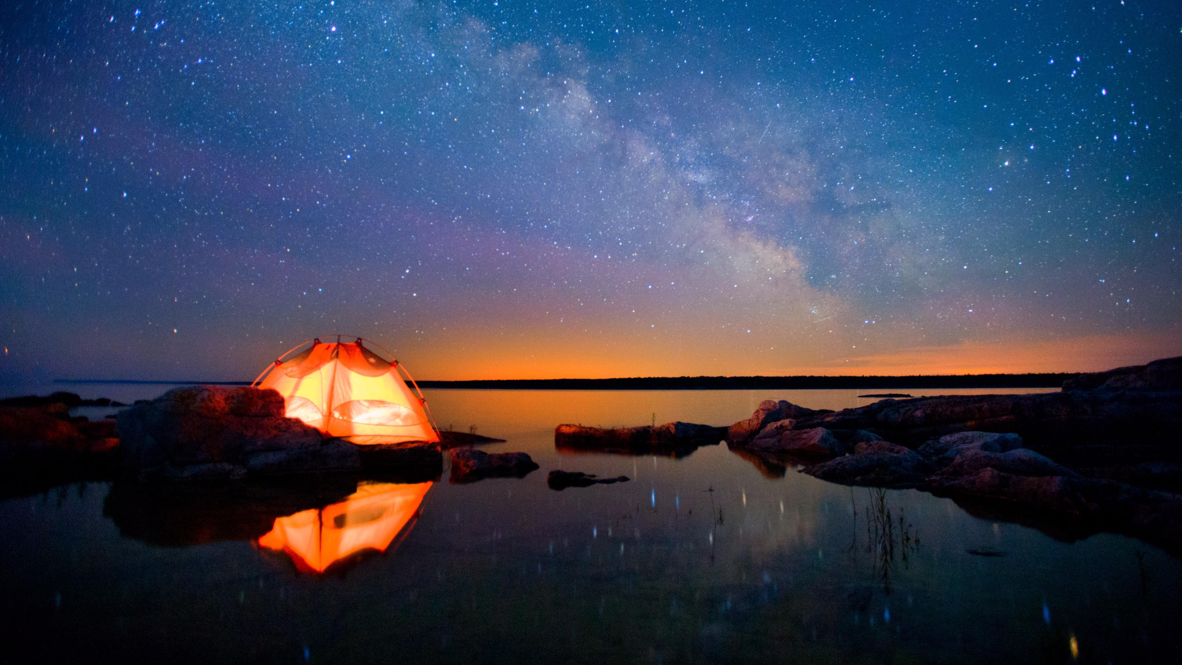 Tent under the Milky Way wallpaper