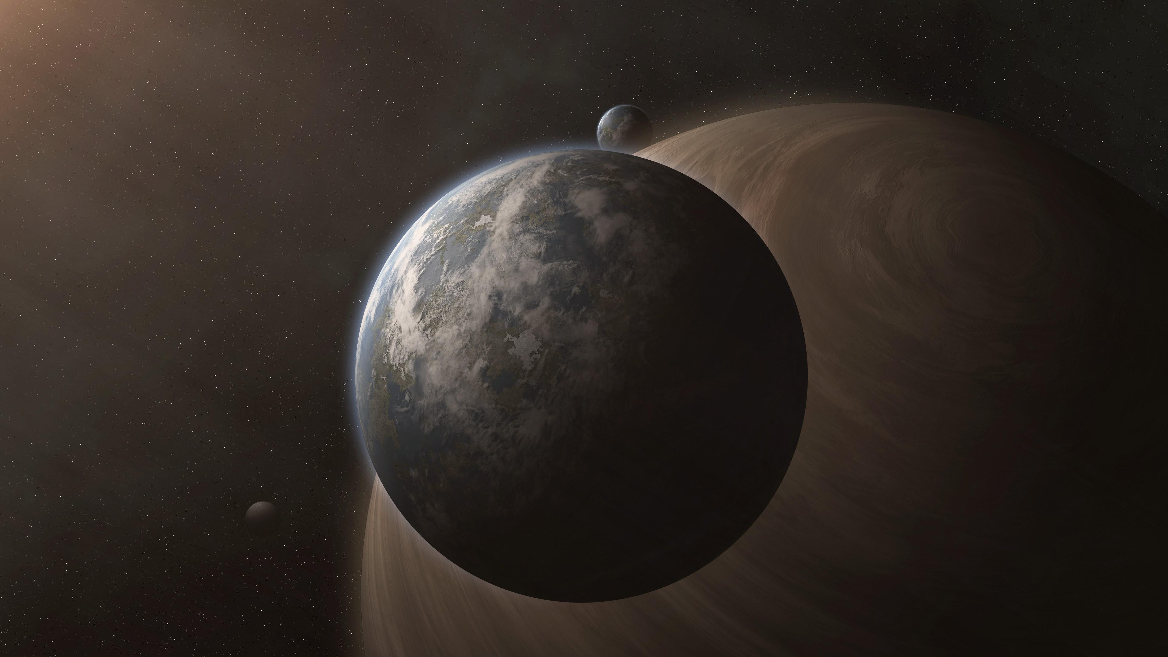 Earth-like planet space art wallpaper