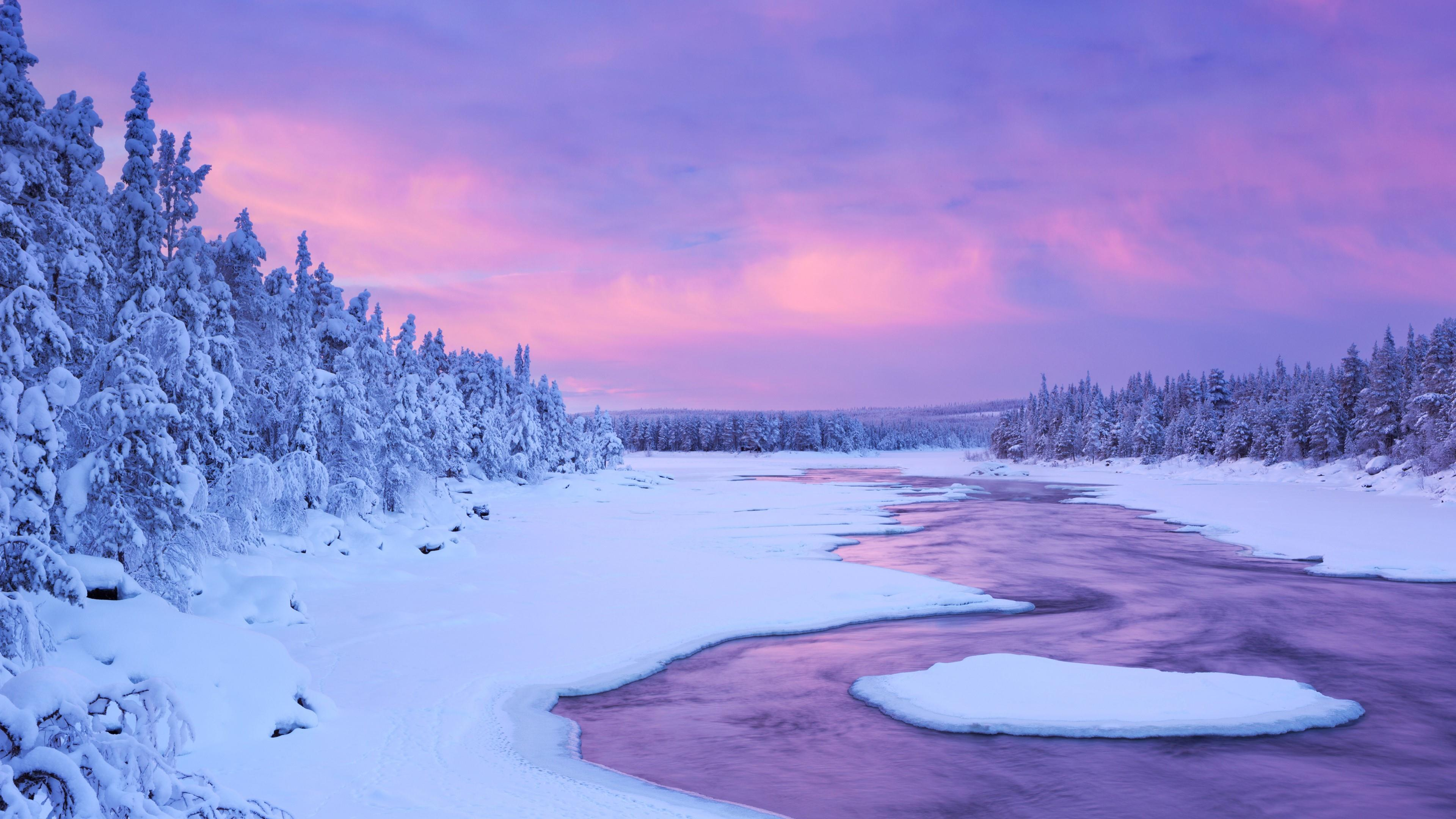 Lapland winter river wallpaper
