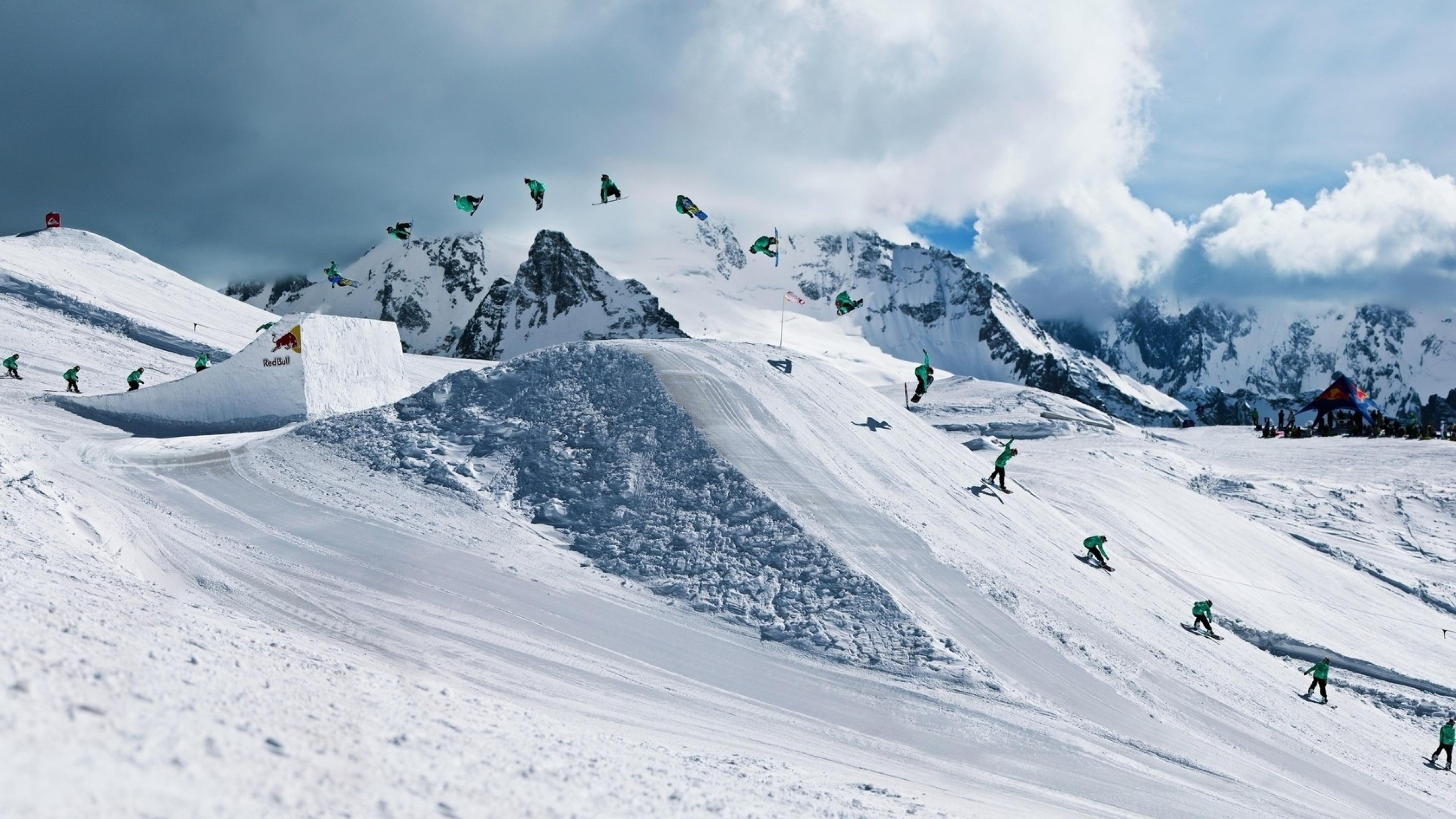 High-profile ski multiple exposure wallpaper