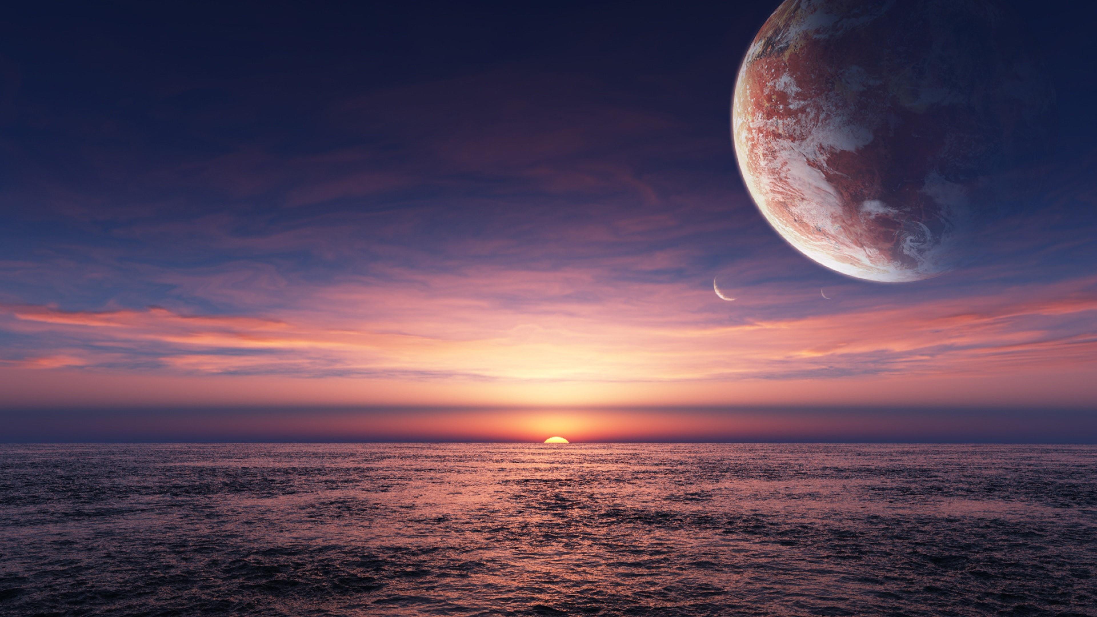 Sunset and moons - Fantasy landscape wallpaper