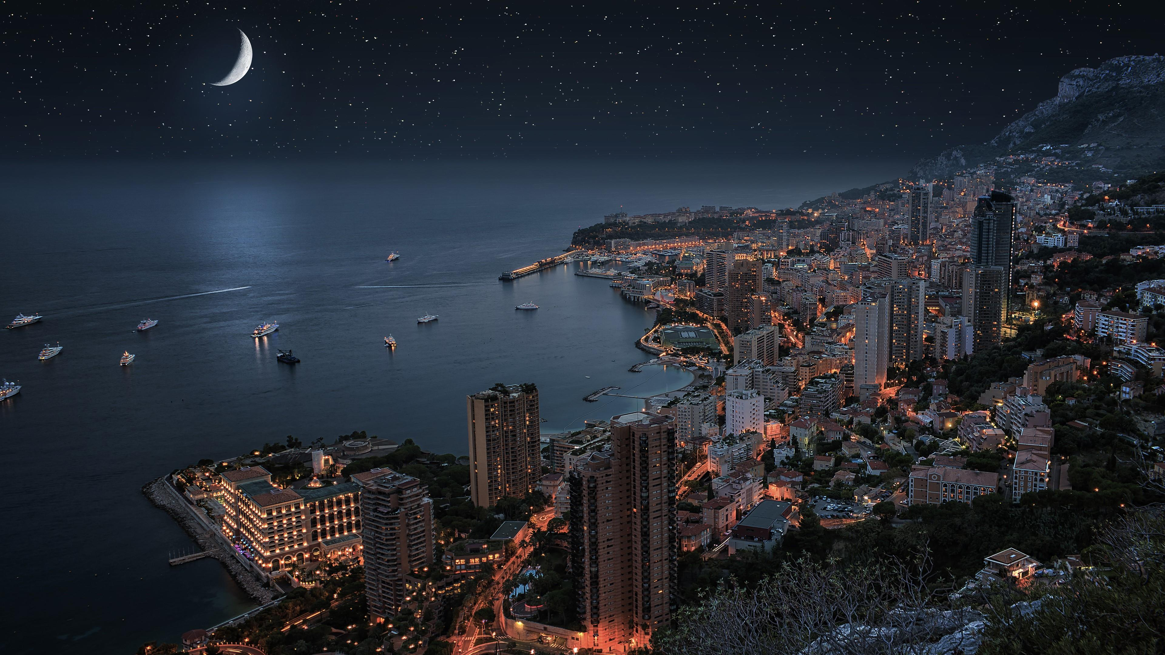 Monte-Carlo under the moonlight (Monaco) wallpaper