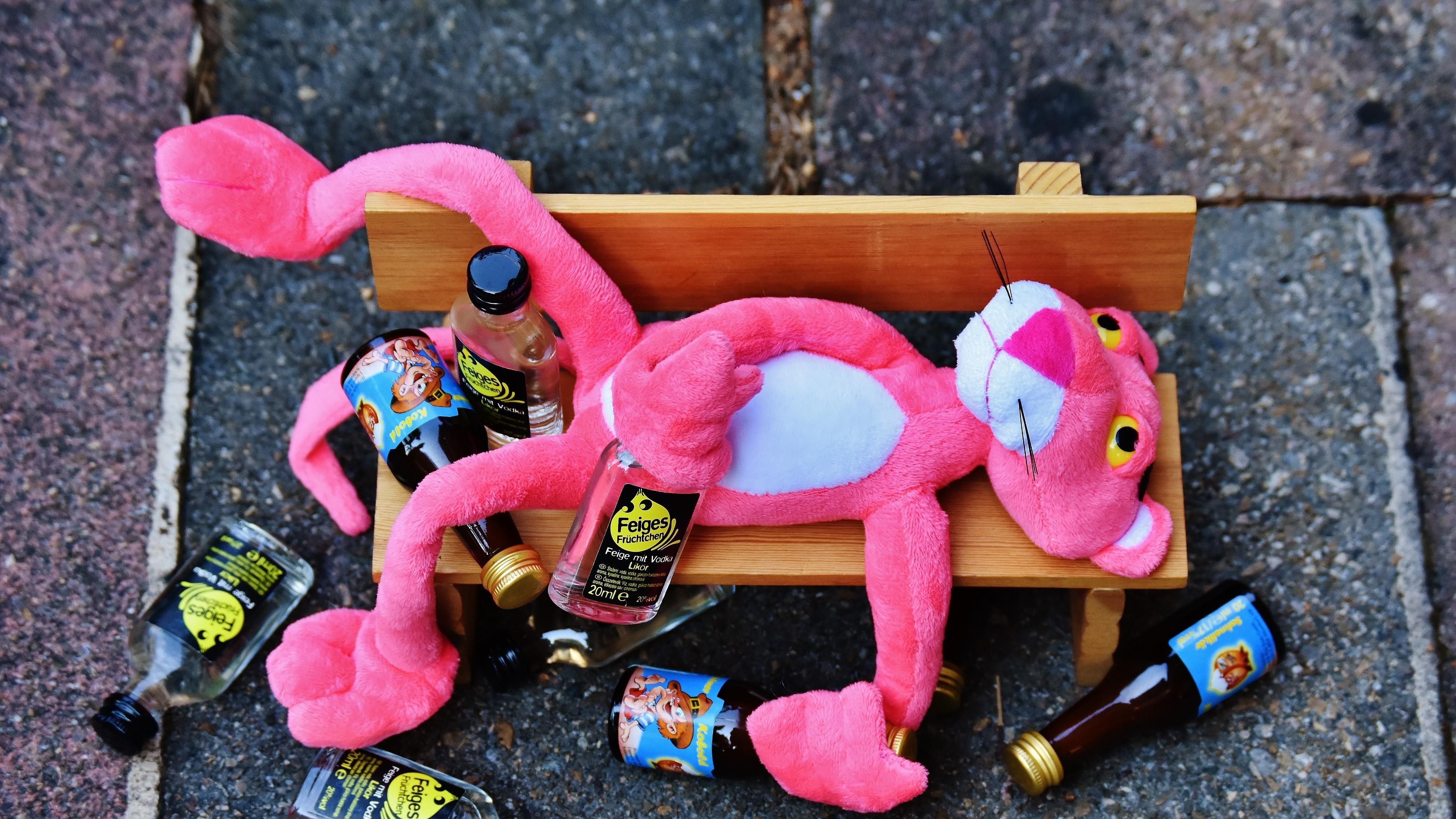 Drunken Pink Panther on a bench wallpaper