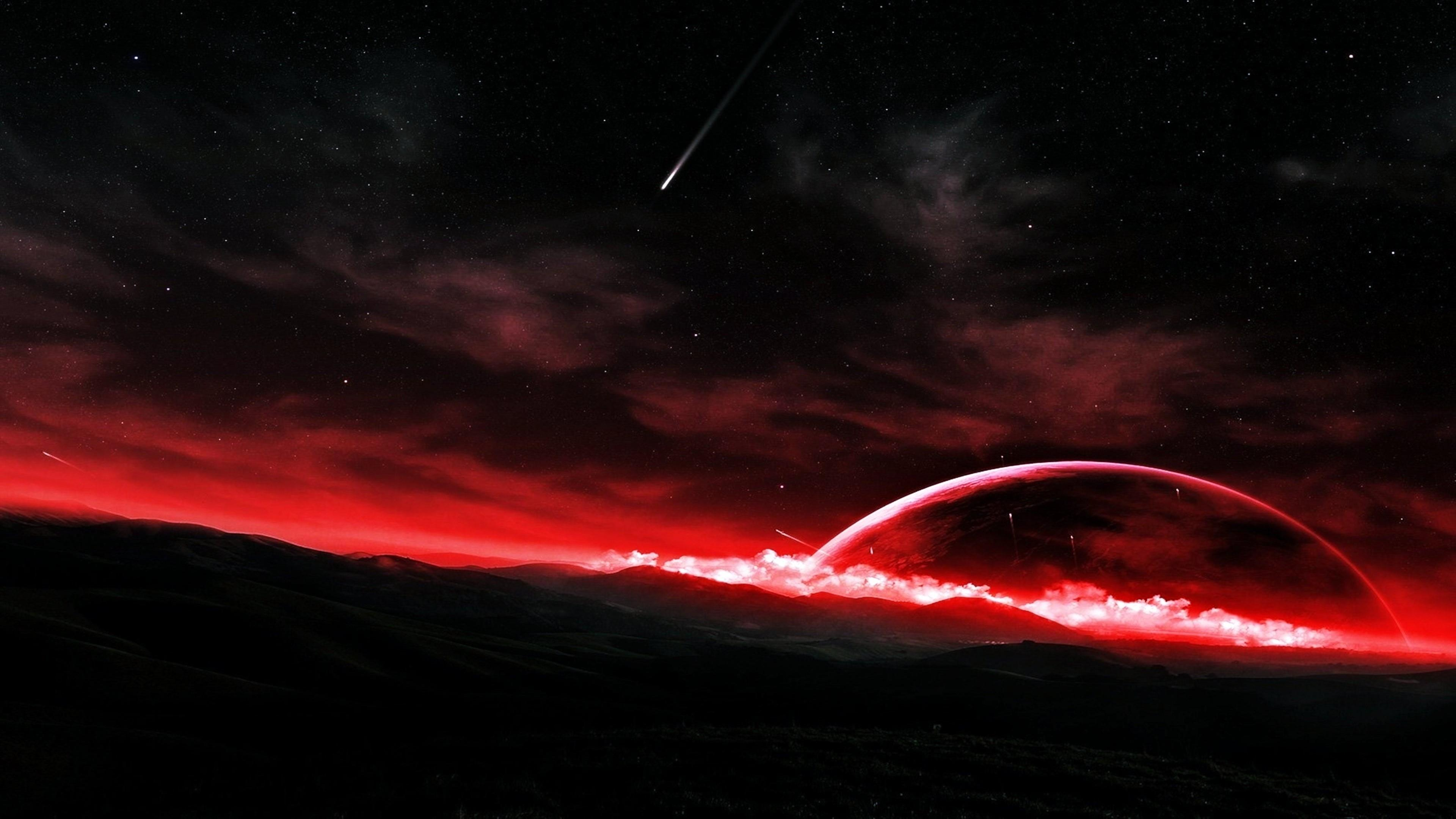 Red horizon - Fantasy space art wallpaper
