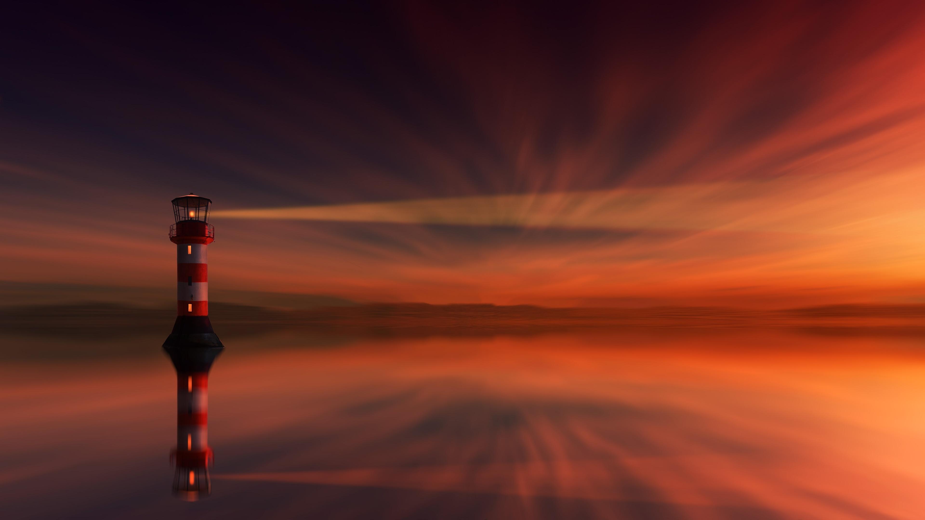 Lighthouse at sunset wallpaper