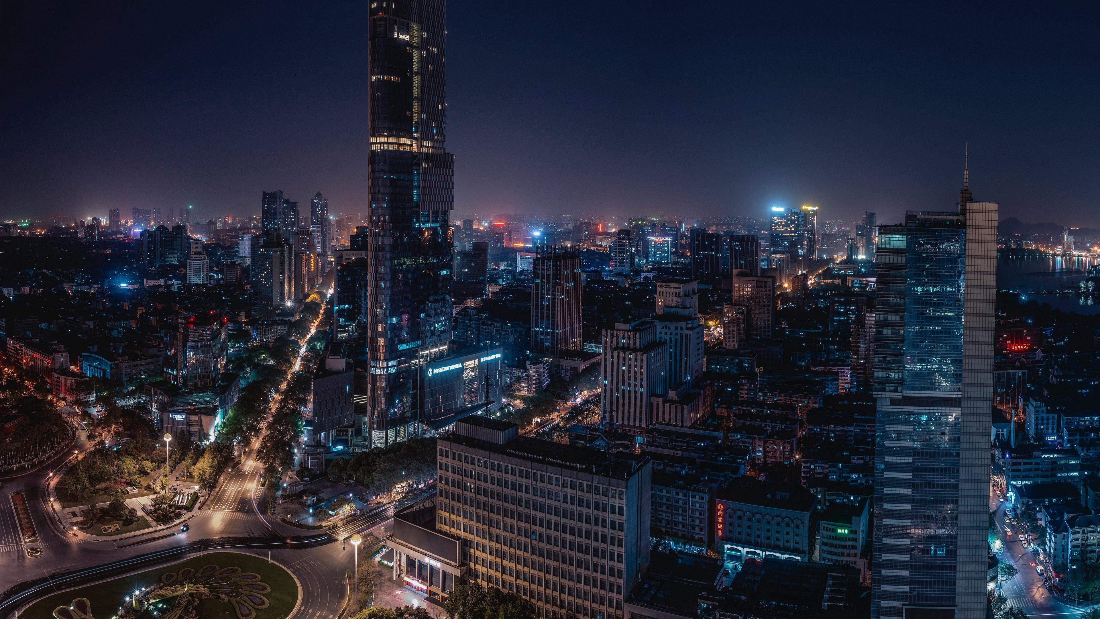 Nanjing city center at night wallpaper