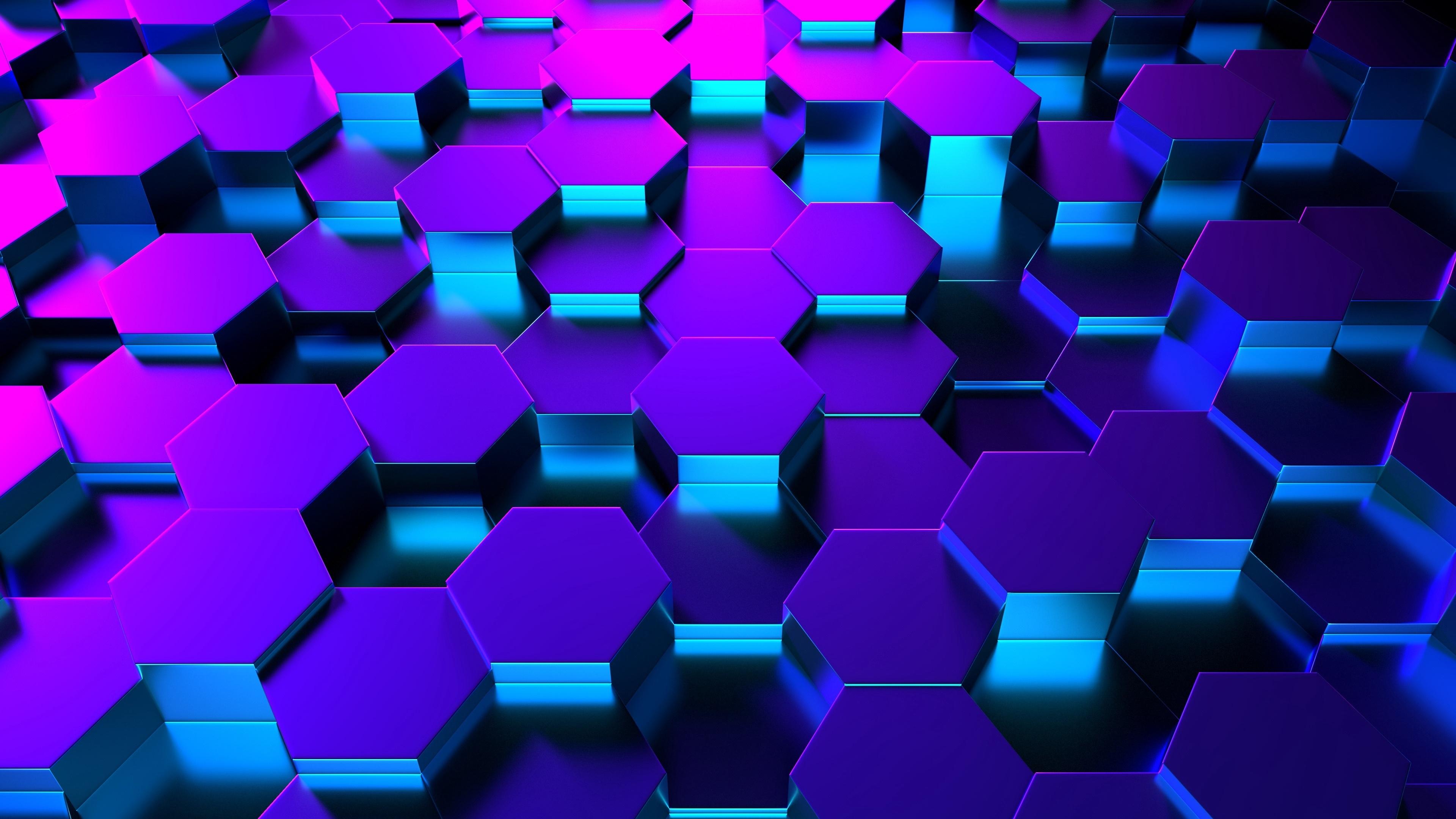 Blue 3D Hexagons 4K UltraHD wallpaper - backiee