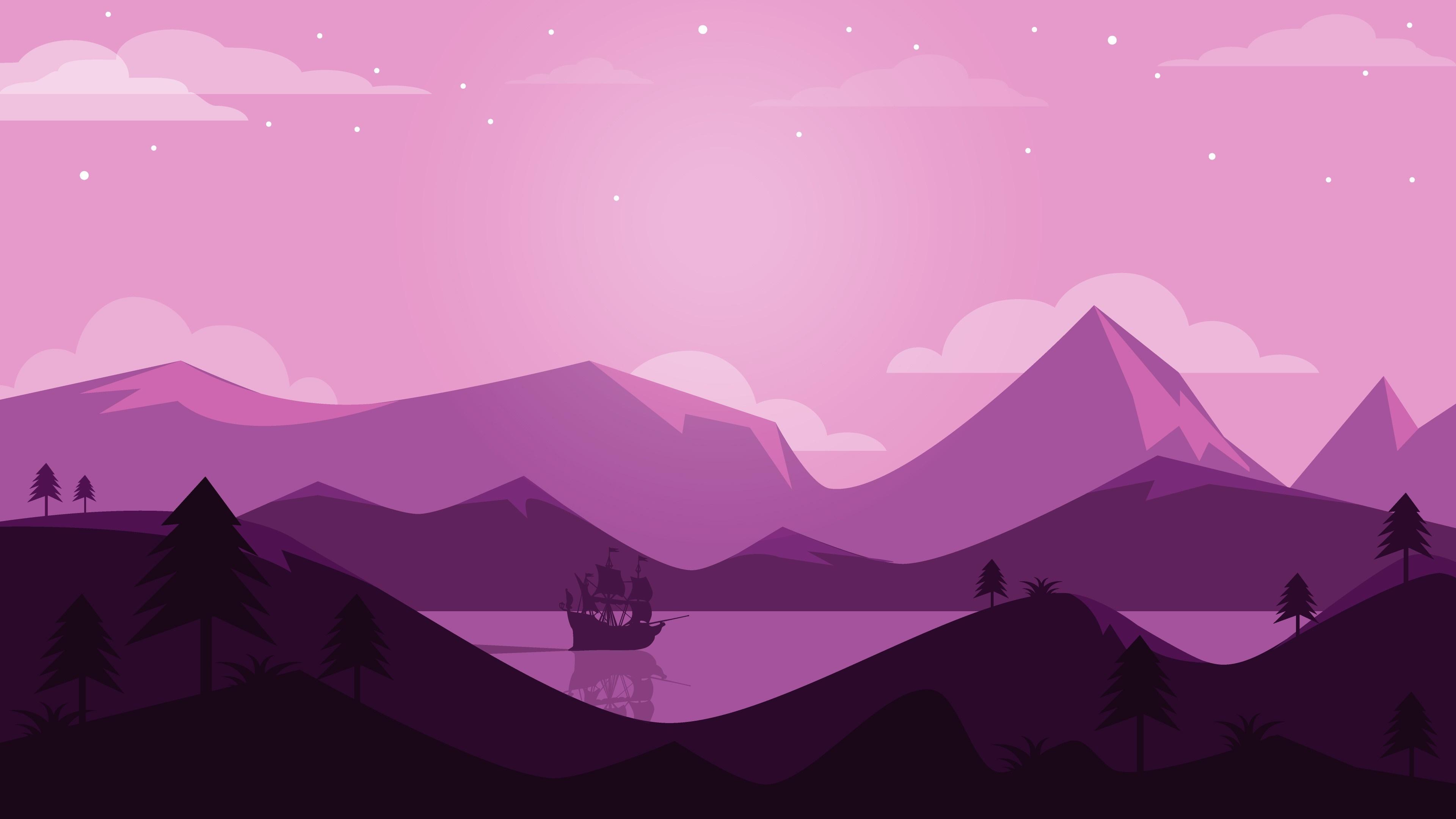 Minimalist landscape illustration wallpaper