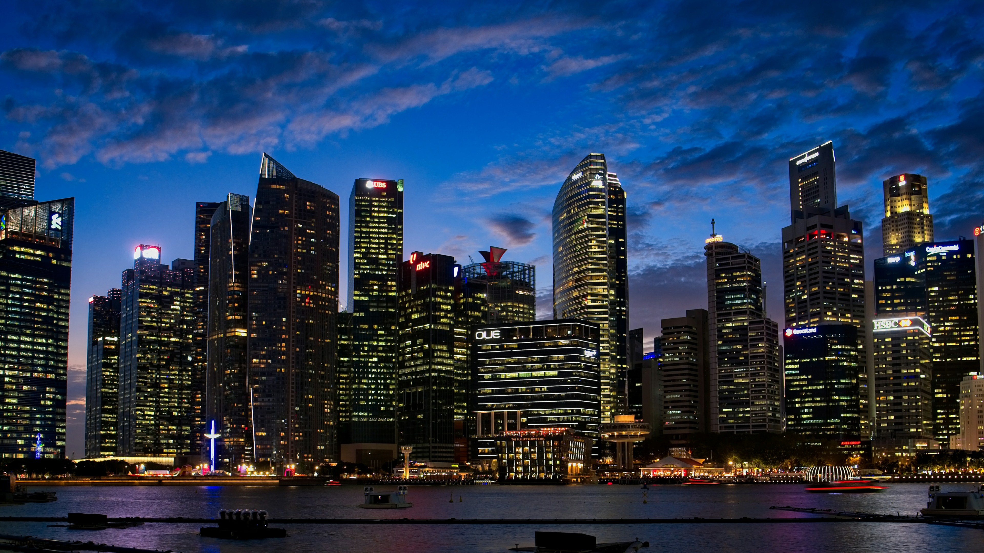 Singapore at dusk wallpaper