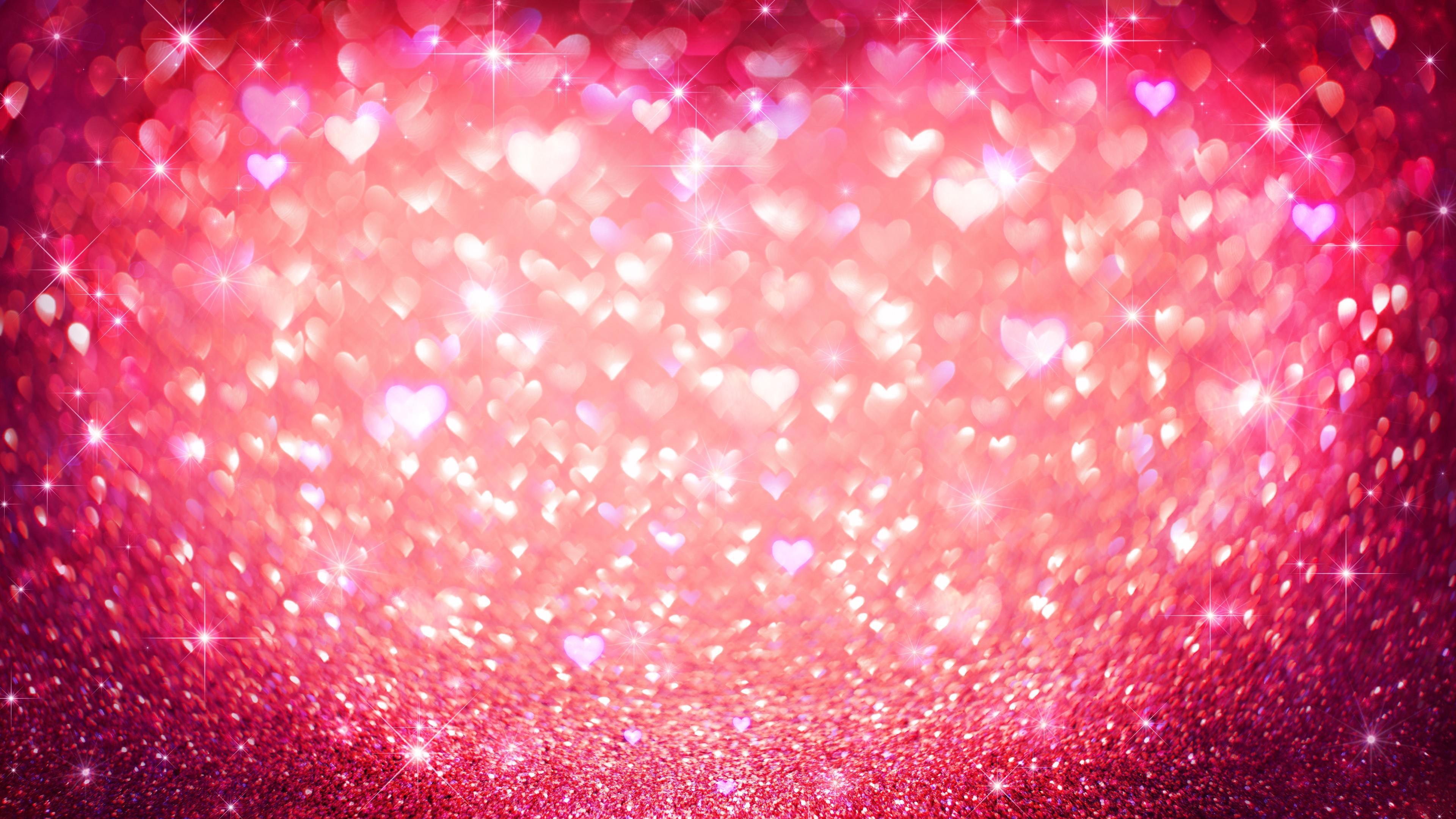 Red hearts with glitter wallpaper