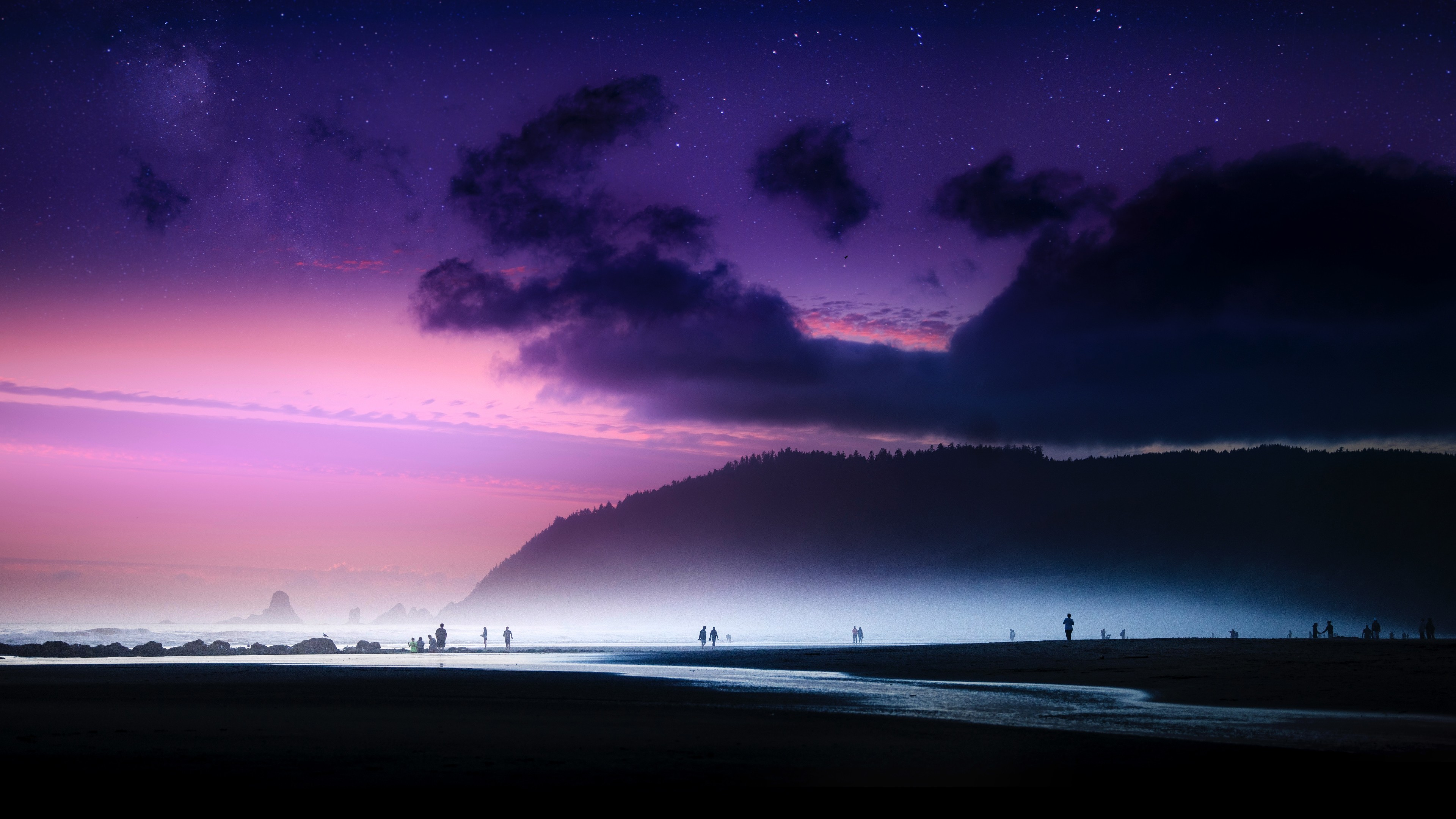 Nightlife on the Cannon Beach wallpaper