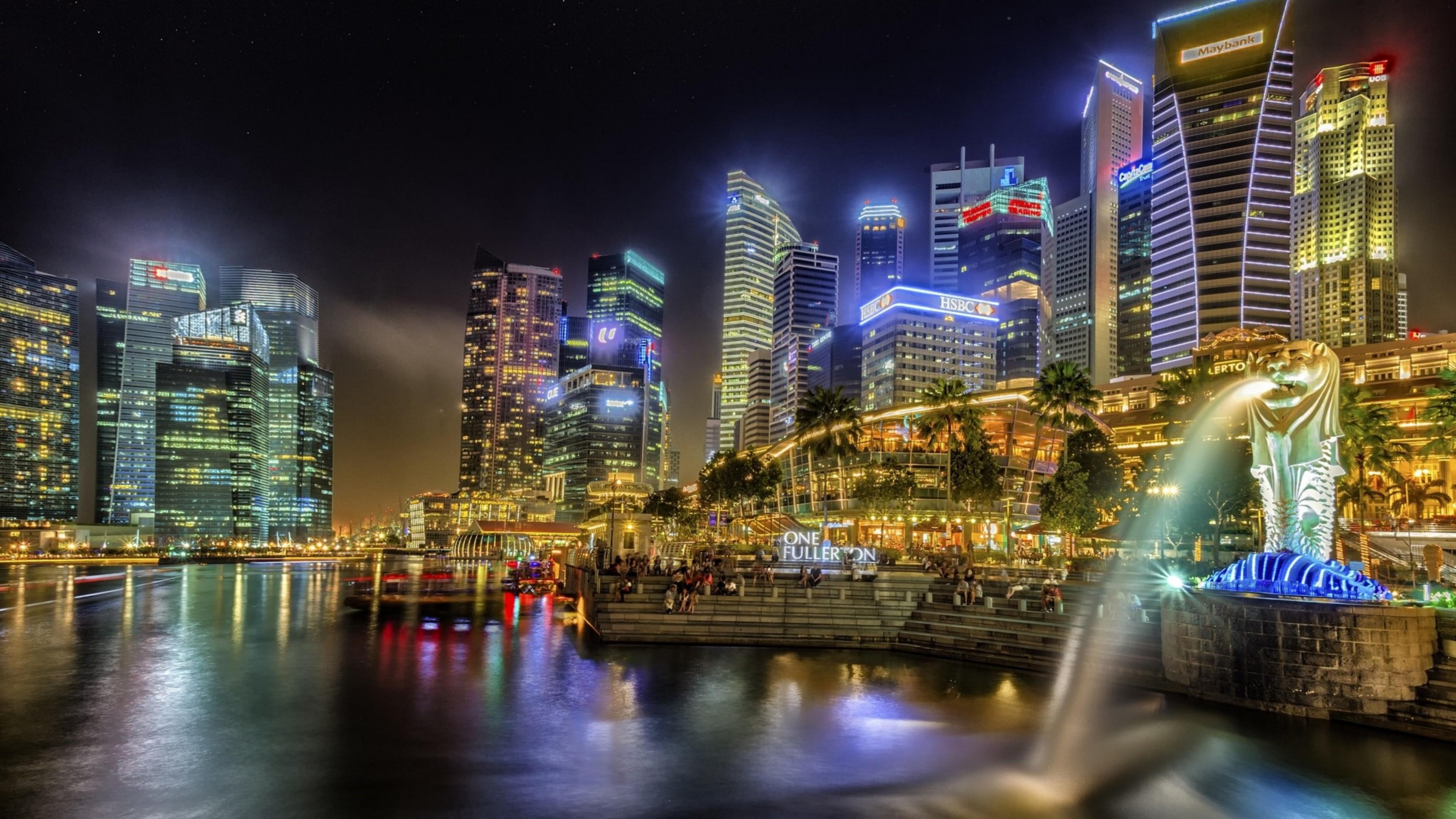Merlion Park at night, Singapore wallpaper