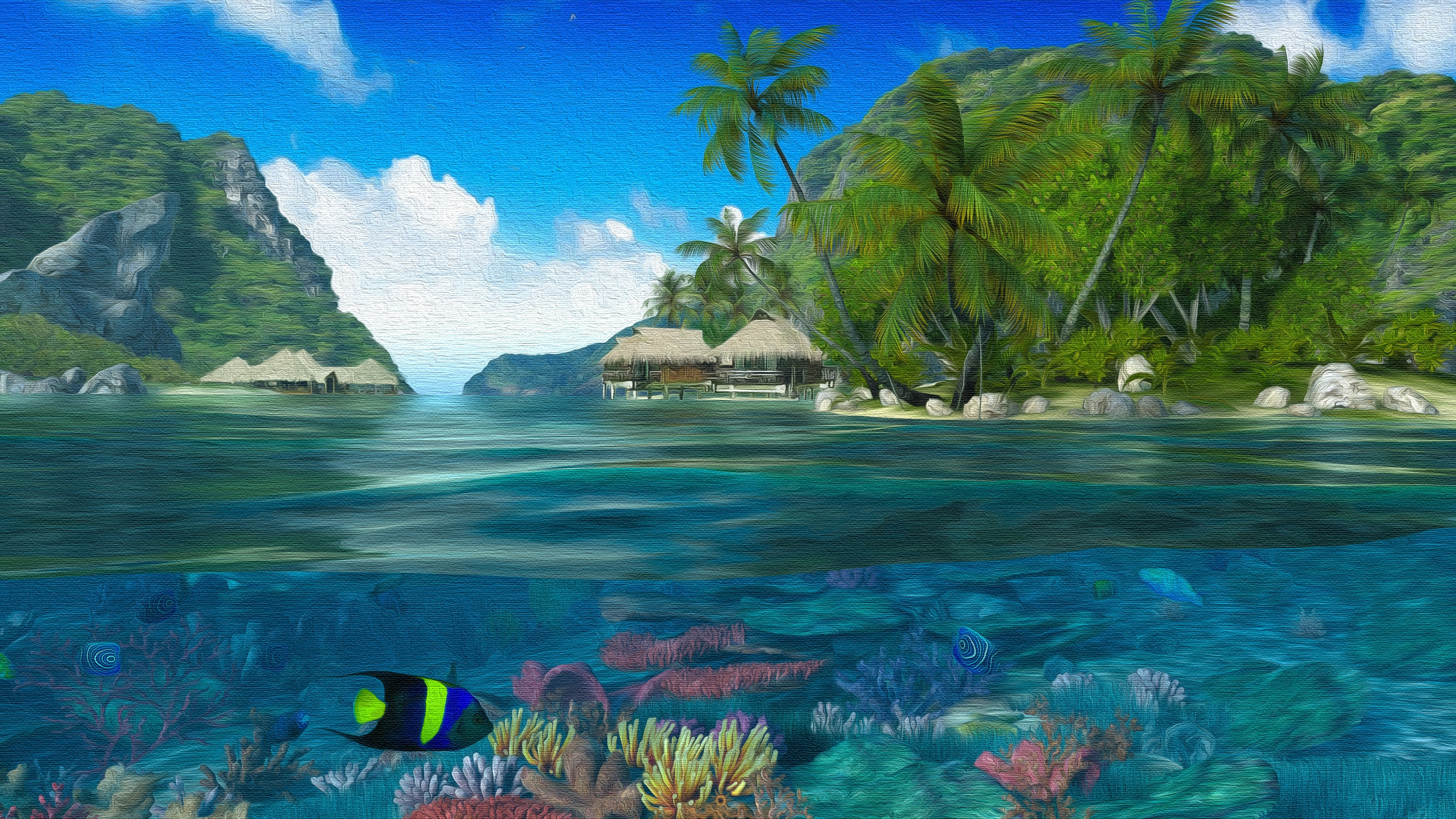 Fantasy tropical landscape painting art wallpaper