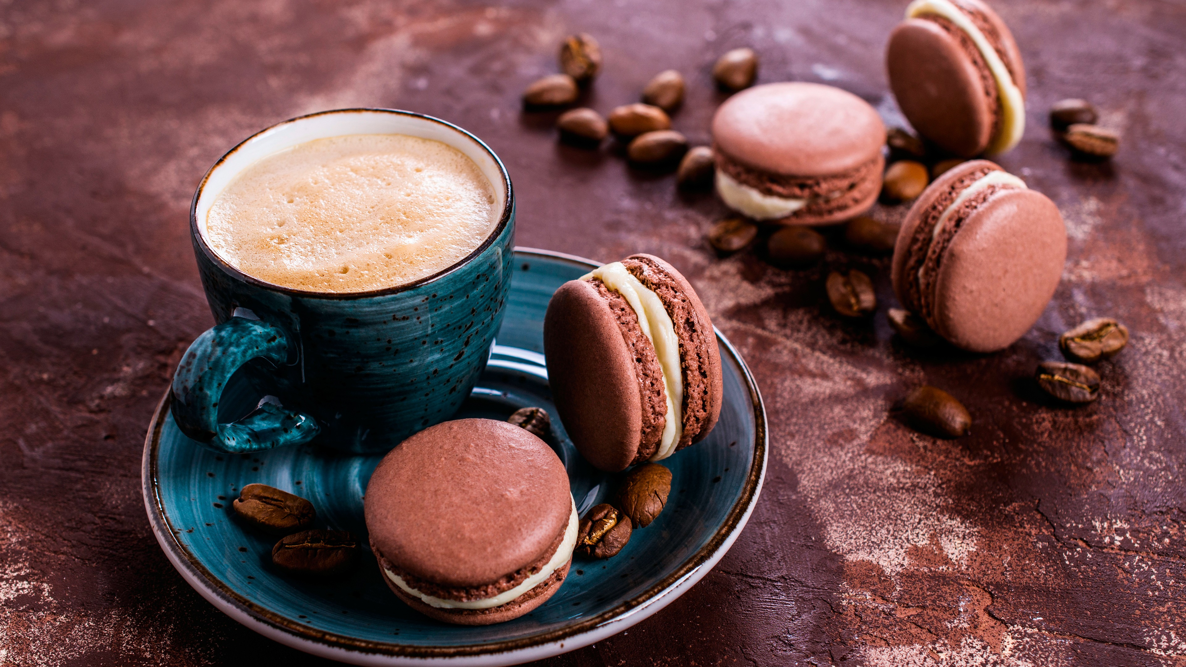 Coffee with macaron wallpaper