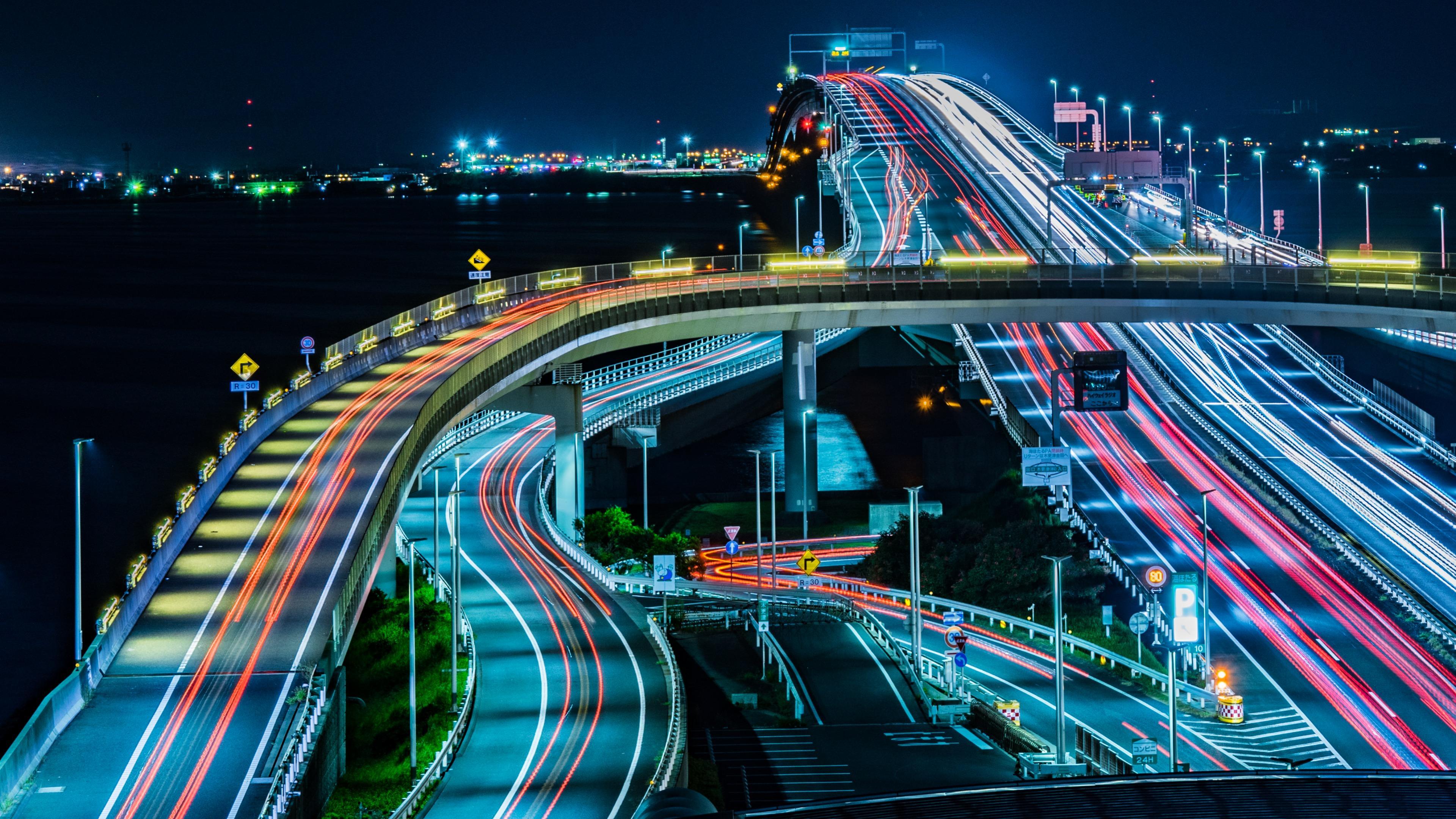Tokyo Bay Aqua-Line Light Trails wallpaper
